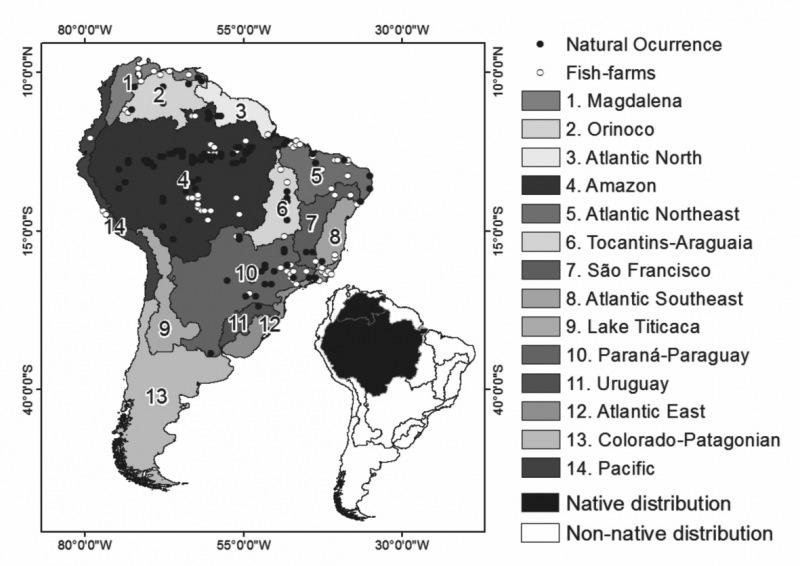 Mapa de distribución de la cachama