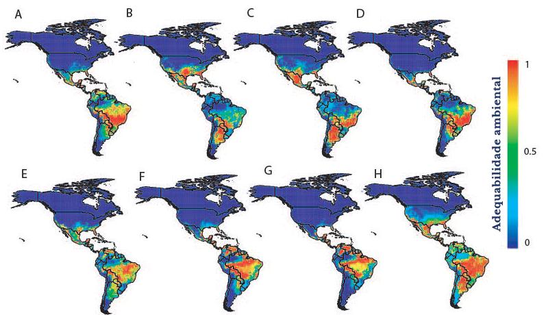 Áreas mais adequadas para a ocorrência de oito espécie de tilápias na América (português)