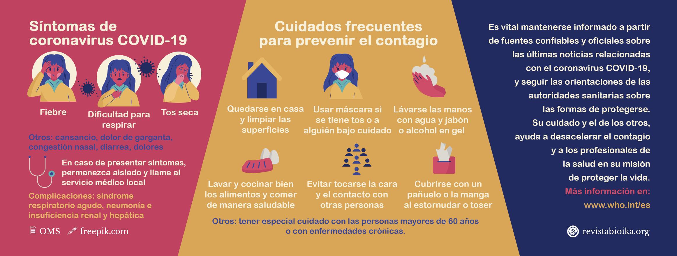 Banner sobre síntomas y cuidados del coronavirus (español)