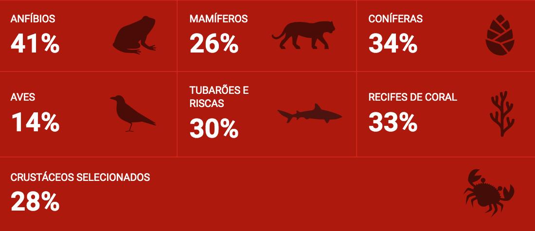 Espécies ameaçadas de extinção IUCN, 13 de setembro de 2020 (português)