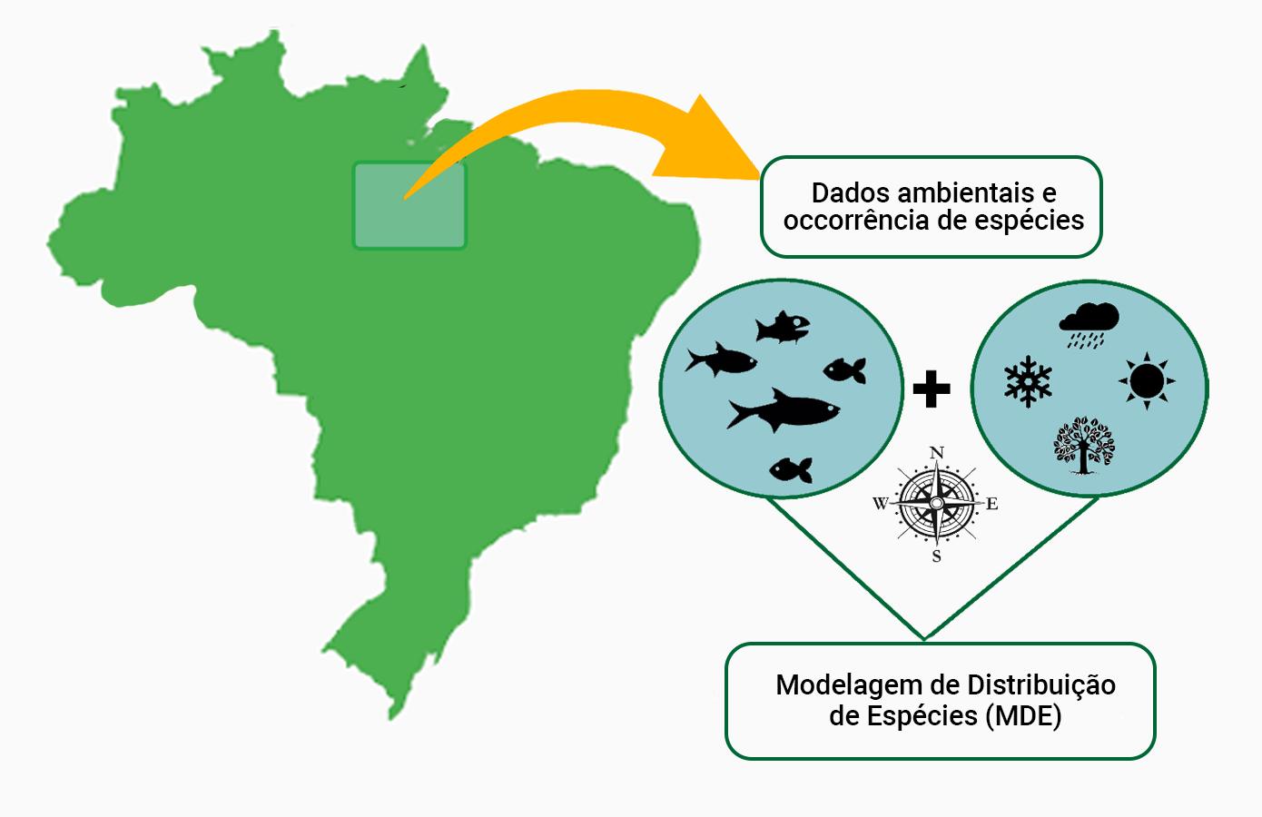 Registros de ocorrência de espécies e modelo de distribuição (rótulos em português)