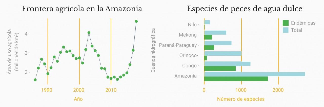 Frontera agrícola en la Amazonía y especies de peces de agua dulce (rótulos en español)