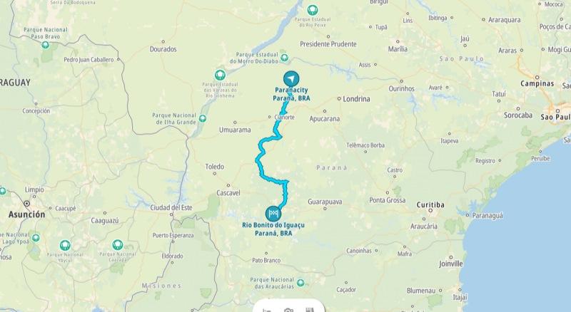 Mapa de ruta entre Paranacity y Rio Bonito do Iguaçu