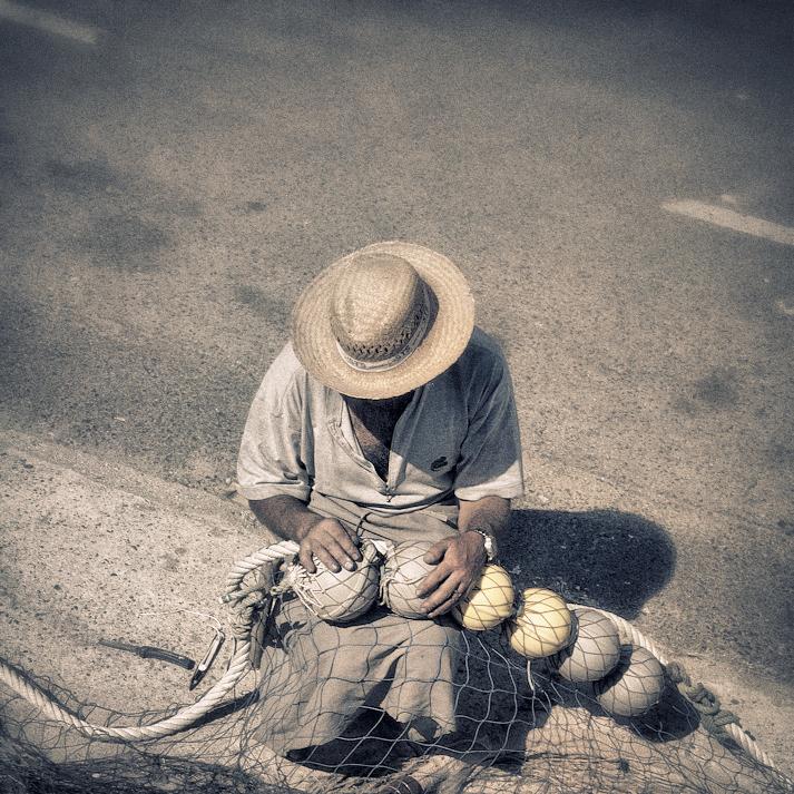 Pescador na rua