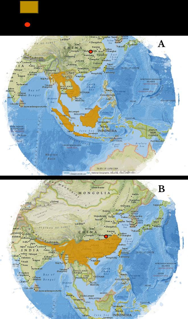Distribuição do pangolim malaio (A) e do pangolim chinês (B)