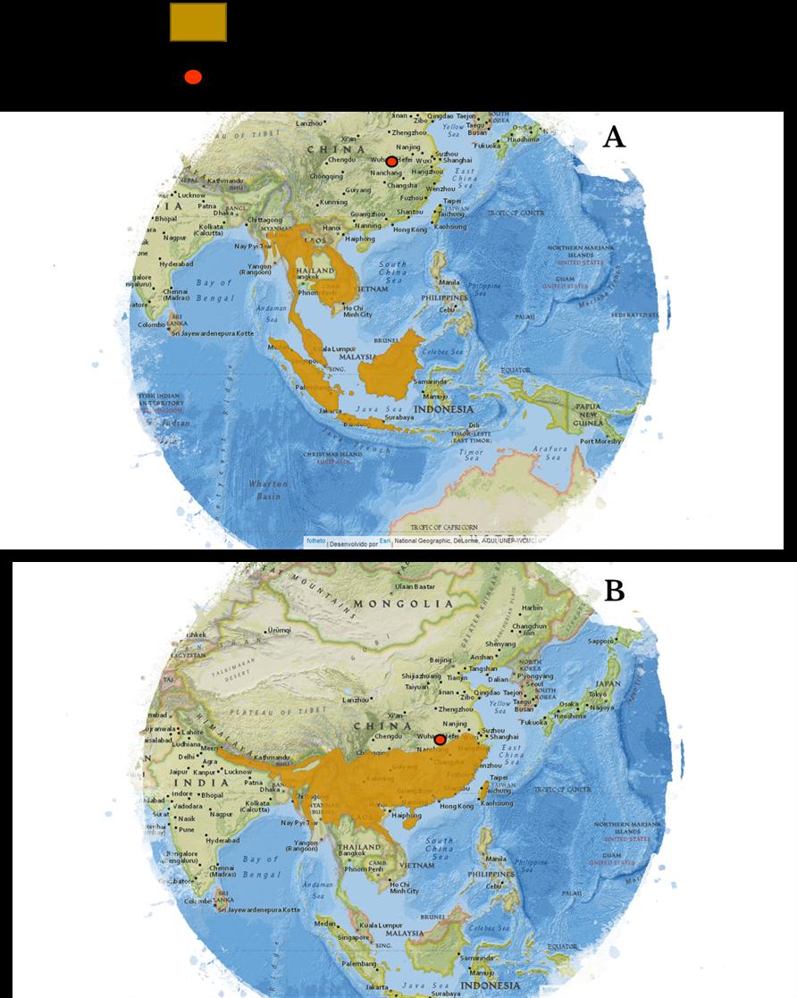 Distribución del pangolín malayo (A) y del pangolín chino (B)