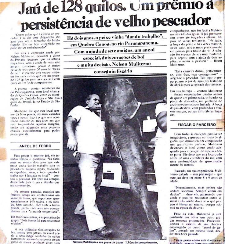 El jaú de 128 kg capturado en 1982 en el río Paranapanema.